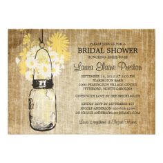 Rustic Mason Jar and Wildflower Daisies Custom Announcements Invitations #bridalshower #bridal #shower #invites #invite #invitation #invitations #wedding #weddings #custom #template #templates #customize #customizable #personalized #personalize #stylish #rustic #romantic #yellow #white #wood #floral #flowers