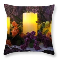 Throw Pillows - Candles Lit Throw Pillow by Pamela Walton