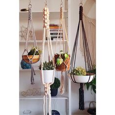 Show your plants some love with this modern, vintage-inspired macrame plant hanger. Simple, yet meticulously hand-crafted, this beauty would be equally at home Macrame Hanging Planter, Macrame Plant Hangers, Hanging Planters, Macrame Curtain, Vintage Inspiriert, Modern Farmhouse Exterior, Plant Design, Plant Holders, Living Room Modern