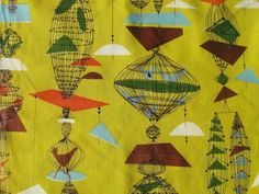 1950s Fabric - Unknown  Love the bold colour choice and linear detail