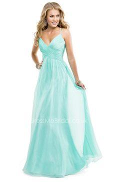 mint long open back v-neck prom dress with spaghetti straps