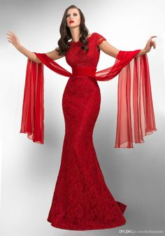 Cheap 2014 Sexy Red Lace Prom Dress Cap Sleeve Long Mermaid Ruffles Womens Evening Party Gowns direct from China