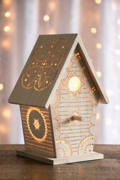 Birdhouse Night Light Woodland Nursery by LightingBySara on Etsy