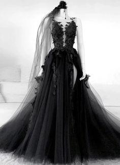 Black v neck tulle lace long prom dress black tulle lace formal dress Black Evening Dresses, Black Prom Dresses, Tulle Prom Dress, Winter Dresses, Evening Gowns, Formal Dresses, Tulle Lace, Dress Winter, Black Tulle Dress