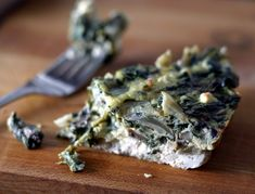 Mushroom Spinach Frittata - fresh/frozen spinach, yellow/white onion, olive oil, mushrooms, feta cheese/dripped yogurt + sea salt/Parmesan, eggs