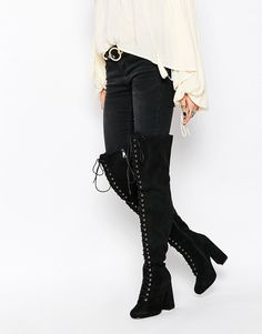 basically i just want over the knee heeled boots. only if it's in chelsea style boot or a chunky heel. idk maybe this one wouldnt be good because i wear a lot of gold and the eyelets are silver. also idk how fat my thighs are for over the knee boots, but i really want a pair