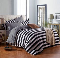 White And Black Stripes Bedding Duvet Cover Quilt Cover Set Twin Queen King Size | Home & Garden, Bedding, Duvet Covers & Sets | eBay!