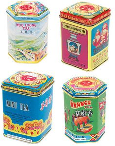 """""""Chinese tea tins are both beautiful and inexpensive. I love having pretty tea tins I can use again and again. Pearl River in NYC has an excellent selection."""" Quoting another pinner. Vintage Packaging, Tea Packaging, Packaging Design, Vintage Tins, Vintage Coffee, William Morris, Vintage Designs, Retro Design, Roses Pink"""