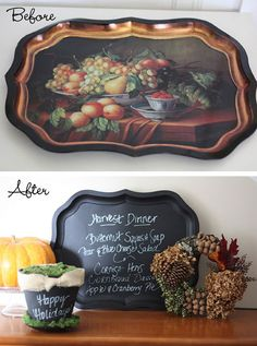 Turn an Old Tray into your Thanksgiving Menu    Nest of Posies