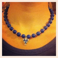 Lapis Lazuli crystal beads with silver plated spacer beads Lobster claspExtender chain Butterfly detail at clasp Crystal Bead Necklace, Crystal Beads, Beaded Necklace, Crystals, Christmas Shopping, Lapis Lazuli, Craft Fairs, Handmade Necklaces, Jewellery