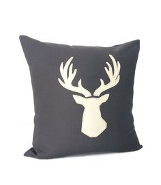Leather Deer   Pillow Cover Dk Grey/ Off White by celineandkate, $36.00