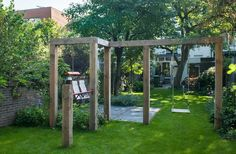 The wooden pergola is a good solution to add beauty to your garden. If you are not ready to spend thousands of dollars for building a cozy pergola then you may devise new strategies of trying out something different so that you can re Pergola Swing, Cheap Pergola, Outdoor Pergola, Backyard Pergola, Pergola Shade, Pergola Plans, Pergola Ideas, Wisteria Pergola, Pergola Carport
