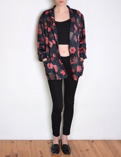90's folk flowers silky satin blazer floral by WoodhouseStudios