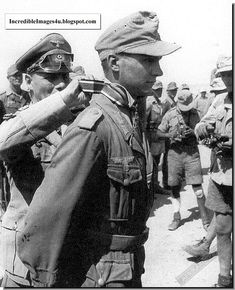 North Africa, July 1942. This photograph of Gunther Halm was taken in North Africa at the ceremony when he received his Knight's Cross from the hands of Rommel himself (his main memory of the occasion was his embarrassment when a fly kept trying to land on his face). A brand new Iron Cross First Class, awarded at the same time, is pinned to his left breast pocket. The 19-year-old Halm was one of the two youngest soldiers ever to win the Knight's Cross.
