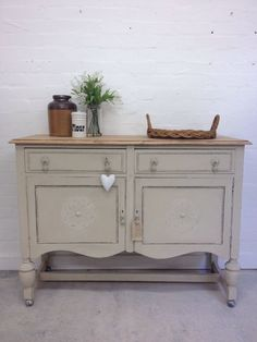 Solid Oak Sideboard Drawers Cupboard Annie Sloans Country Grey Shabby Farmhouse