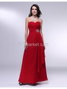 Chiffon Beading Strapless Floor Length Evening Dress 	Silhouette: Sheath,Column 	Neckline: Strapless Sweetheart 	Hemline: Floor Length 	Train: N/A 	Embellishments: Beading 	Back Details: zipper up 	Fully Lined: Yes 	Built-In Bra: Yes 	Materials: chiffon 	Colours: Dark Red 	Occasion : Evening, Milltary Ball, Formal occasion  	 	Size Chart, Visit http://www.okmarket.com/size-chart  	Color Chart, Visit http://www.okmarket.com/dress-color-number  	How to $156.75