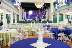 Beaufort Weddings - Green and royal blue table setting with white tree centerpieces for a special event at the Lyceum aboard MCRD Parris Island in Beaufort, SC.
