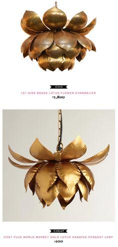 1st Dibs Brass Lotus Flower Chandelier $1,800  -vs-  Cost Plus World Market Gold Lotus Hanging Pendant Lamp $100
