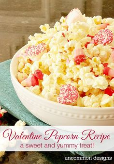 Celebrate Valentine's Day with this yummy and sweet Valentine Popcorn Recipe. A perfect movie treat for the kids or adults!