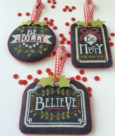 Chalkboard Ornaments One is the title of this cross stitch pattern from Hands On Designs new Christmas series that is stitched with Gentle Art Sampler threads