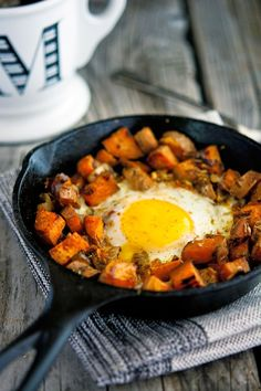 Sweet Potato and Caramelized Onion Hash with Baked Eggs   #TheIronYou