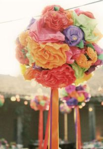 Fake flower Pompoms hanging from the ceiling (pastel colors)