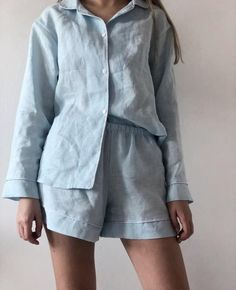 Women's linen pajama set Long Silk Nightgown, Womens Denim Overalls, Cozy Pajamas, Sporty Outfits, Fashion Outfits, Mode Streetwear, Summer Outfits Women, Pajamas Women, Night Gown