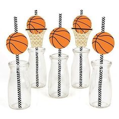 Amazon.com: Nothin' But Net - Basketball Party Straw Decor with Paper Straws - Set of 24: Toys & Games