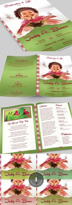 Leather Funeral Program Template 3 Wedding Fonts $1200 - child funeral program template