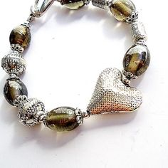 Gray and Silver Bracelet Heart Jewelry Mother Daughter by cdjali, $18.00