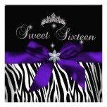Sweet 16  Purple Zebra Black Diamonds image invitations
