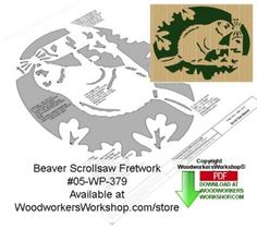 This wildlife fretwork scroll saw woodworking pattern features a beaver, who is always busy repairing its dam and housing. This pattern is very delicate and must be cut and handled very carefully. A s...