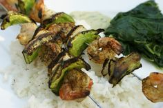 Shrimp Kabobs with Creamy Dijon Dill Sauce over a bed of rice