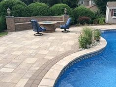This New Jersey Pool Patio was created by Anthony Group using; Pavingstones: Ledgestone XL SCLt Pre-Packaged Kits: Natural gas fire pit SC w/ Venetian Gold table top Custom: Maytrx SC outdoor kitchen with Venetian Gold counter top Pool Coping: Cast Stone sandstone