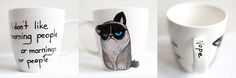 Grumpy Cat; hand-painted mug; 370 ml  / Kristi Palm Art