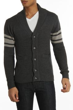 Seduka Jeans Button Down Sweater In Charcoal - Beyond the Rack