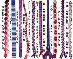 different homecoming mum braids, the Military braid I would like due with different blues so it has a touch of the navy in it? Homecoming Mums Senior, Football Homecoming, Homecoming Garter, High School Homecoming, Homecoming Corsage, Homecoming Spirit, How To Make Mums, How To Make Ribbon, Ribbon Work