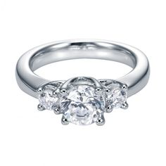 1.30cttw Classic 3-Stone Trellis Round Diamond Engagement Ring