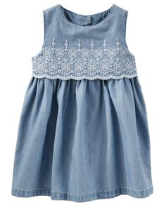Baby Girl 2-Piece Two-Tier Eyelet Chambray Dress. Two-tiered but crafted as one easy piece, this chambray dress features an eyelet embroidered and scalloped top hem for sweet spring style.