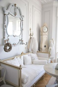 Shabby chic room-add hooks to mirror