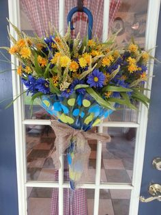 Umbrella flower arrangement.