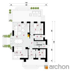 Dom w zefirantach 5 (P) Bungalow House Design, House Plans, Floor Plans, How To Plan, Ideas, Two Story Houses, Home Plans, Modern, Architecture