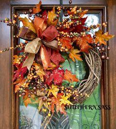 138 rustic christmas wreath ideas on a budget - page 20 ~ Modern House Design Easy Burlap Wreath, Wreath Crafts, Diy Wreath, Wreath Ideas, Deco Mesh Wreaths, Holiday Wreaths, Autumn Wreaths For Front Door, Door Wreaths, Thanksgiving Wreaths