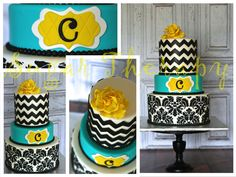 Damask, Chevron Cake