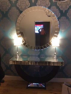 Quartz Black Mirrored Console Table Mirror Set Decorations
