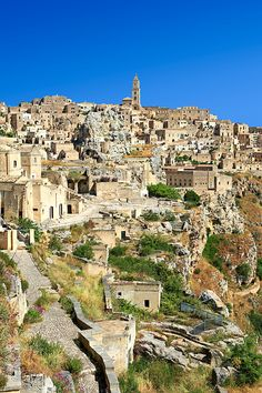 The ancient cave dwellings in Matera, Southern Italy. A UNESCO World Heritage Site.