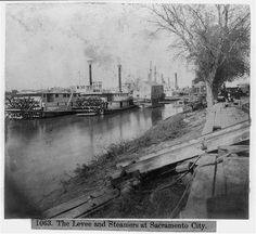 1866. The Levee and Steamers at Sacramento City, California
