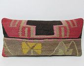 lumbar pillow kilim red decorative pillow floral throw pillow beige kilim pillow bench cushion cover tribal tapestry retro home decor 23778
