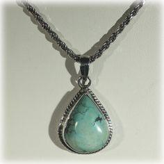 Sterling Teardrop Turquoise Pendant