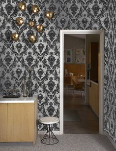 Damsel Self Adhesive Wallpaper in Metallic Silver design by Tempaper